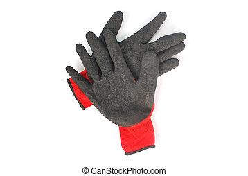 coupure, background.(with, caoutchouc, path)., gants, composé, noir, blanc