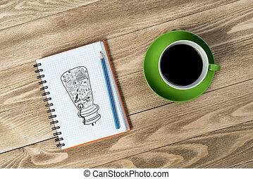 coupure, café, rafraîchissement