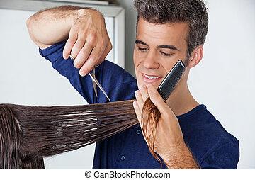 coupure cheveux, client's, coiffeur
