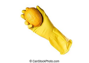 coupure, citron, jaune, gants caoutchouc, sentier