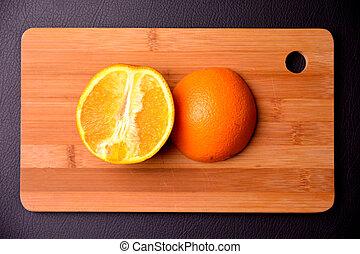 coupure, conseil bois, moitié, orange, frais