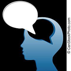 coupure, esprit, parole, social, parler, bulle, penser, dehors