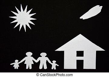 coupure, famille, image, house., papier, concept, ton, faire
