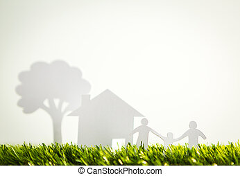 coupure, famille, printemps, arbre, papier, maison verte, frais, herbe