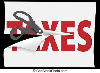 coupure, impôt, impôts, découpage, papier, ciseaux