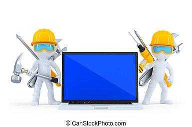 coupure, industriel, isolated., contient, ouvrier, laptop., sentier