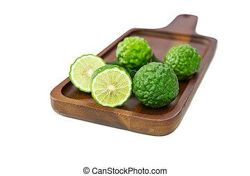 coupure, moitié, bois, bergamote, fruits, frais, table.