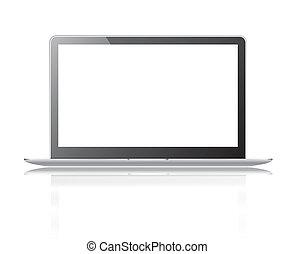 coupure, ordinateur portable, isolé, noir, mince, fond, sentier, blanc écran