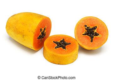 coupure, papaye, haut, fruit