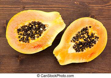 coupure, papaye, sommet bois, moitié, table, vue