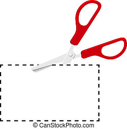 coupure, pointillé, coupon, ciseaux, ligne, rouges, dehors