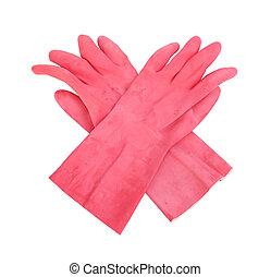 coupure, protecteur, (with, ménage, isolé, gants caoutchouc, fond, blanc, path)