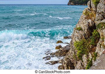 coupure, rocks., bas, adriatique, sea., côtier, vagues, balkans., summer., vue