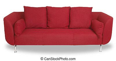 coupure, sofa, isolé, confortable, sentier, blanc, divan, rouges