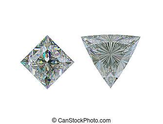 coupure, sommet, trillion, diamant, blanc, princesse, vue