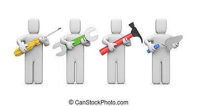 coupure, tools., ouvriers, contenir, sentier, image