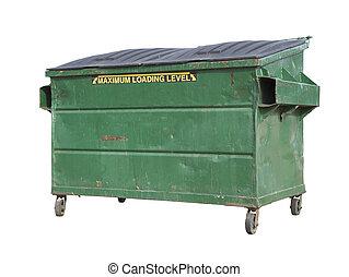 coupure, vert, benne ordures, recycler, sentier, blanc, déchets ménagers, ou