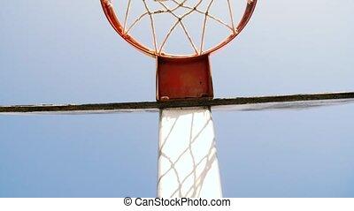 cour de récréation, case basket-ball, dehors, vieux