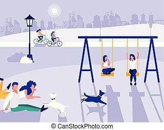 cour de récréation, icône, parc, isolé, gens