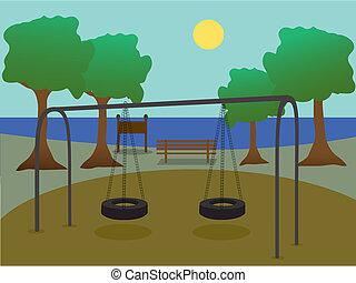 cour de récréation, parc