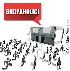 courant, achats, shopaholic, foule, gens