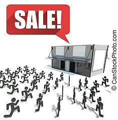 courant, achats, vente, foule, gens
