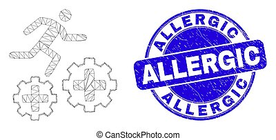 courant, cachet, maille, allergique, bleu, engrenages, grunge, toile, patient