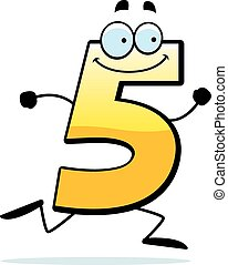 courant, cinq, dessin animé