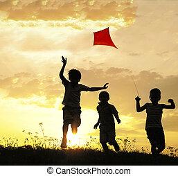 courant, enfants, cerf volant