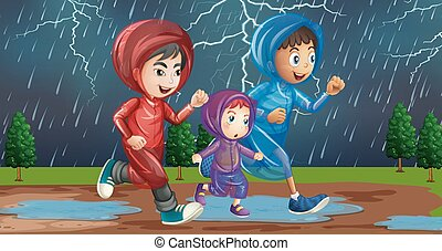 courant, famille, pluie