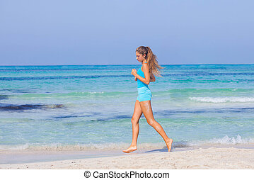 courant, femme, plage