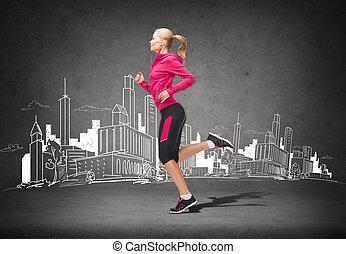 courant, femme, sportif, sauter, ou