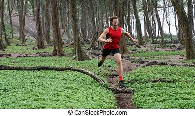 courant, forêt, mâle, coureur, déterminé, -, piste, jogging, athlète, homme
