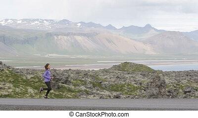 courant, formation, exercisme, femme, coureur, athlète, -
