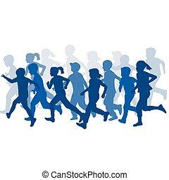 courant, groupe, silhouettes, enfants