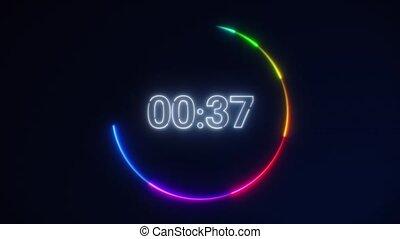 courant, néon, ou, vitesse, minuteur, countdown., secondes, 60, compte rebours, arrière-plan., noir, 10, dynamique, blanc, seconds., minute, light., lumière, 0, arc-en-ciel, cercle, 30, 1
