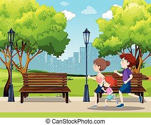 courant, parc, scène, famille