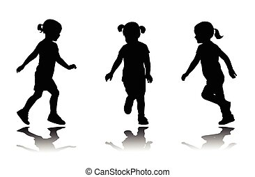 courant, peu, silhouettes, girl