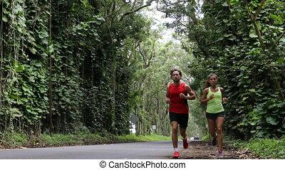 courant, route, forêt, kauai, hawaï, couple