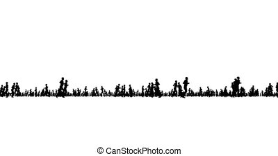 courant, silhouette, blanc, gens