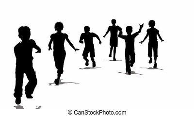 courant, silhouette, enfants