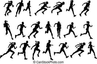 courant, silhouettes, coureurs