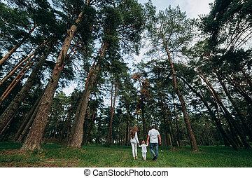 courant, tenue, foyer, forêt, park., haut., parc, été, famille, sélectif, arrière-plan., maman, heureux, mains, fille, beau, papa, jeune, promenade, fin