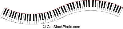 courbé, clavier piano