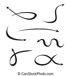 courbé, ensemble, flèches, noir