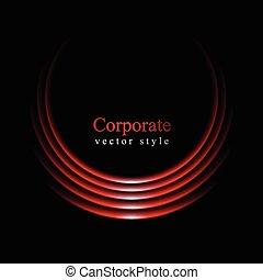 courbe, arrière-plan noir, logo, rouges, lueur
