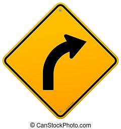 courbe, signe jaune