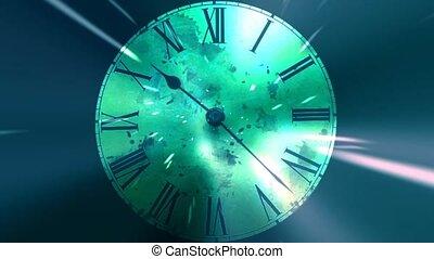 courber, concept, grunge, infinitely, chaotique, space., en mouvement, jeûne, temps, clock.