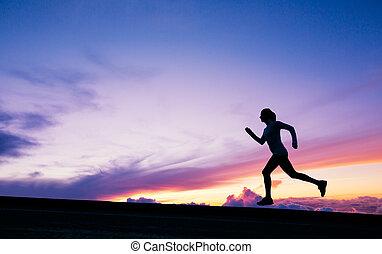 coureur, courant, coucher soleil, silhouette, femme
