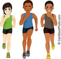 coureur, différent, hommes, ethnicité